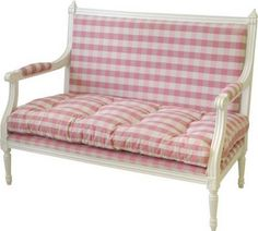 Swedish Kitchen Sofa with gingham fabric Scandinavian Benches, Swedish Kitchen, Kitchen Sofa, Girl Room, Girls Bedroom, Bedrooms, Pink Houses, Swedish Design, Take A Seat