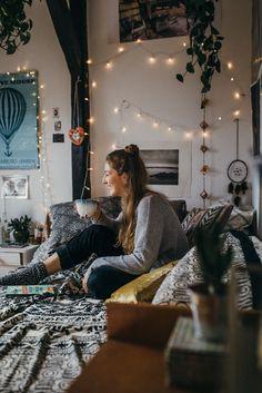 Image result for boho chic bedroom fairy lights