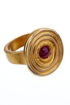 Bullseye Ring in Yellow Gold with Ruby | Andrea Gutierrez Jewelry