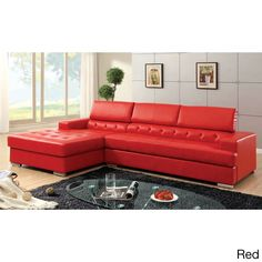 Massa Sectional Sofa Upholstered in Bonded Leather - Overstock™ Shopping - Big Discounts on Sectional Sofas