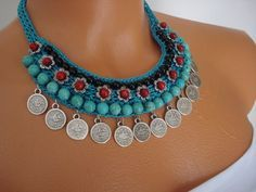 Turquoise Necklace Crochet Necklace Spring-Summer by FIGENTAKI