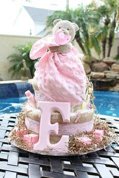 Shabby Chic Baby Girl Diaper Cake