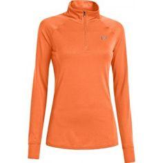 Gezien op Beslist.nl: Under Armour Heatgear Tech Sweater Met Ritsje Oranje Dames