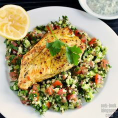 Spiced chicken with tabouli. Beautiful and tasty. A perfect week night meal. It also would make some amazing left overs for lunch (if there are any).