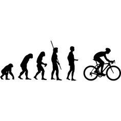 Evolution Rennrad - Die Evolution der Menschheit vom Affen bis hin zum Rennradfahrer in einer Abfahrtshaltung um schneller zu fahren.