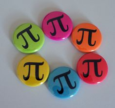 Colorful Neon Pi Nerdy Geeky Math 1 Pinback Button by robyriker