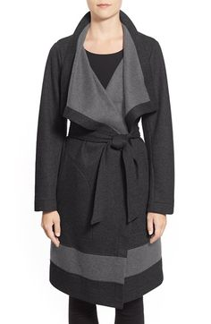 Vince Camuto Contrast Border Reversible Knit Wrap Coat available at #Nordstrom