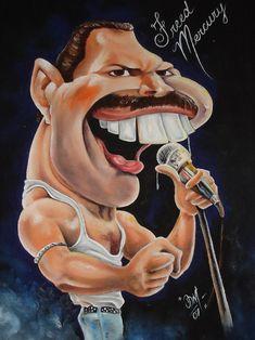 Click to Close Funny Cartoon Faces, Cartoon People, Cartoon Pics, Cartoon Art, Caricature Artist, Caricature Drawing, Funny Caricatures, Celebrity Caricatures, Freddie Mercury