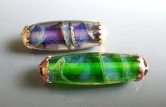 Capped focals with dichroic extract by Jayne LeRette of BadgerBeads