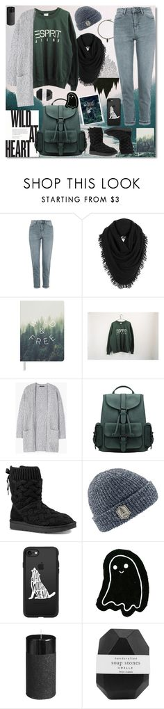 """""""Inspired by the forest"""" by shybaki ❤ liked on Polyvore featuring Topshop, White + Warren, Fringe, ESPRIT, MANGO, UGG, Coal, Casetify, Pier 1 Imports and Pelle"""