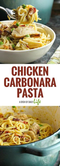 Fast, easy and delicious, this Chicken Carbonara Pasta is a comfort food recipe that is sure to be a hit with the whole family! You can use leftover grilled chicken as well. Chicken | Main Dishes | Pasta | Carbonara | Dinner | Comfort Food #pastafoodrecipes
