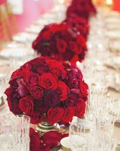 red reception wedding flowers, wedding decor, red wedding flower centerpiece, red wedding flower arrangement, add pic source on comment and we will update it. Red Wedding Flowers, Red Wedding Dresses, Red Wedding Decorations, Table Decorations, Decor Wedding, Our Wedding, Dream Wedding, Wedding Reception, Reception Table