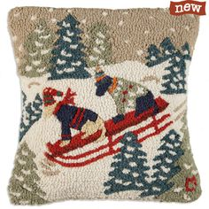 Hand Hooked Daring Dogs Pillow. Sledding Dog Pillow. From TheHolidayBarn.com