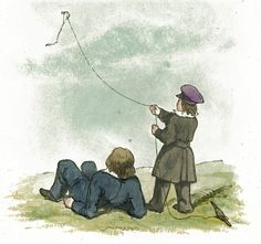 Two young boys are flying a kite in this public domain children's illustration.