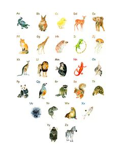 Animal ALPHABET POSTER 8X10inch by dimdimini on Etsy