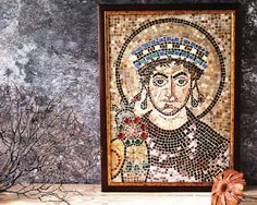 Italian Mosaic Replica Byzantine Art San Vitale Mosaics Detail Emperior Justinian I. Glass Handmade Mosaic Wall Art Hangings Rustic Picture