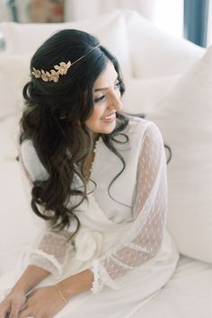 """From the editorial """"A Multicultural Farmhouse Wedding With A First Look That Brought The Groom To Tears!"""" This couple fused together their two cultures to have an epic Indian-American wedding that combined modern minimalism and farmhouse style with chic Indian traditions. All details on SMP! Photography: @paigevaughnphoto #bride #brideinspiration #bridalbeauty #bridehair #weddingday #brideaccessories Wedding Hairstyles Half Up Half Down, Wedding Hairstyles For Long Hair, Bride Hairstyles, Indian American Weddings, Classic Wedding Hair, Bridal Hair Inspiration, Fine Art Wedding Photography, Bridal Beauty, California Wedding"""