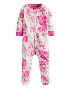 Joules Baby Girls Print Babygrow, Neon Pink Floral.                     This all-in-one babygrow is crafted from the finest cotton and adorned with new hand-drawn prints. Finished with a smattering of poppers for easy-on and easy-off.