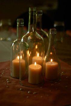 Wine Bottle Hurricane Lantern Centerpieces - que idea original para centros de mesa en la playa!!