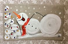 Snowman Pillow Cover Hand-painted Snow Christmas B Christmas Pillow, Christmas Snowman, Christmas Wreaths, Christmas Crafts, Christmas Ornaments, Christmas Cover, Christmas Holiday, Burlap Christmas, Christmas Music