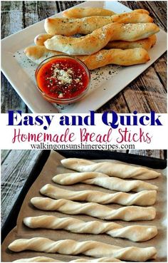 How to Make Easy Quick Homemade Bread Sticks from Walking on Sunshine Recipes.