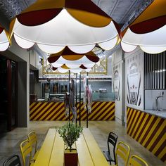 Circus shenanigans light up Athens fast food joint Biribildu Souvlaki Fast Food Restaurant, Cafe Restaurant, Athens Restaurants, Food Court, Retail Design, Light Up, Small Spaces, Architecture, Outdoor Decor