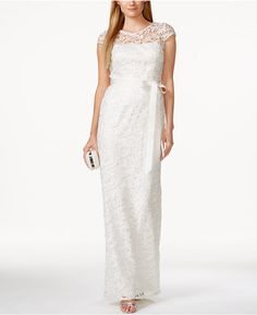 Adrianna Papell Cap-Sleeve Illusion Lace Gown at Macy's #affiliatelink
