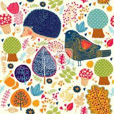 Papier peint automne seamless avec des fleurs, des arbres, des feuilles et la coupure d'équipage - bête • PIXERS.fr