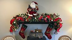 Classic, Traditional Christmas Fireplace Mantel  - How To Decorate For Christmas