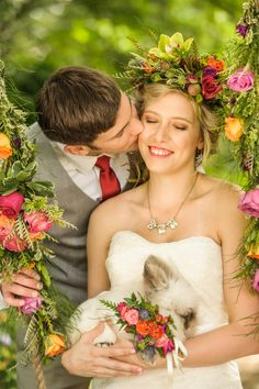 Bunny and her bride | Lovely and Light | See More! http://heyweddinglady.com/southern-garden-wedding-brunch-in-jewel-tones-from-lovely-and-light/