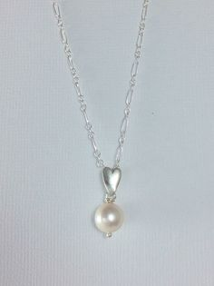 Freshwater Single Pearl Necklace Thin Sterling by GemsByKelley