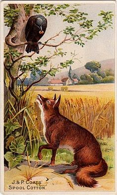 Illustration for Aesop's fable 'The Fox and the Crow'