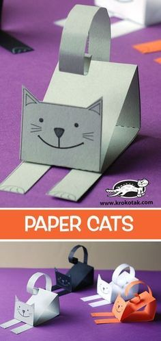 Paper cats arts and crafts project. What other animals can students make using this idea? Kids will have a ball! Paper cats arts and crafts project. What other animals can students make using this idea? Kids will have a ball!Paper cats (krokotak) - V Cat Crafts, Arts And Crafts Projects, Projects For Kids, Diy For Kids, Crafts For Kids, Paper Crafts Kids, Fabric Crafts, Paper Craft Templates, Decor Crafts