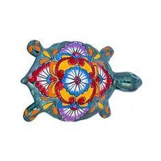 Medium Multi-Color Mexican Talavera Turtle (Green Base)