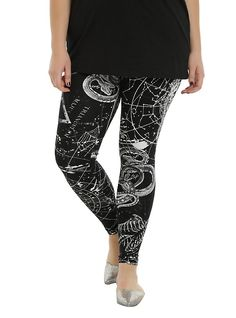 Black Astrology Leggings Plus Size, BLACK