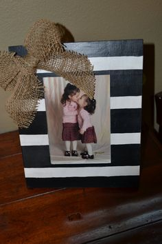 Hand Painted 5X7 Black and White Striped Picture Frame with Burlap Bow on Etsy, $20.00 DIY