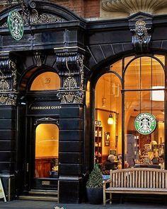 Best coffee shop façade ever! Starbucks Leicester Square - London, England <3