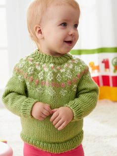 Girls' Garden Flowers Fair Isle Yoke Sweater in Caron Simply Soft Collection & Simply Soft, a beautiful baby jumper available at LoveKnitting. Find more inspiration and share your own projects on the LoveKnitting website! Knitting For Kids, Free Knitting, Baby Knitting, Fair Isle Knitting Patterns, Fair Isle Pattern, Baby Patterns, Knit Patterns, Knit Baby Sweaters, Knitting Sweaters