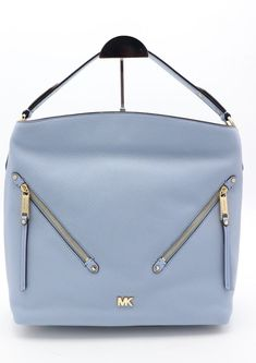 NWT MICHAEL Michael Kors Evie Blue Leather Large Hobo Shoulder Bag Purse   328  MichaelKors  ShoulderBag 44505b1a3c