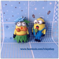 Polymer clay minion Keychain, hot girl....
