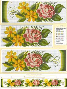 ponto-cruz-flores-toalha-1-500x400 78 gráficos de flores em ponto cruz para imprimir