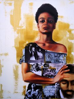 """Painting is Judith by Tatya Fazlalizadeh, link is to Post-Bourgie, """"Black Violence and Concern Fatigue"""":  So let's make this plain: To assert that black people simply shrug off the murders of their sons and daughters and cousins and best friends, that folks simply shake their heads and keep it moving is to assert that black people are constitutionally incapable of grief and outrage. It's to assert, sideways, that black people aren't fully human."""