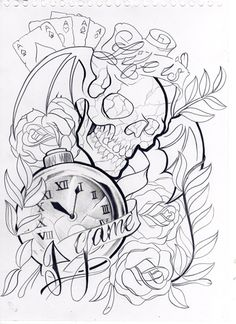 life is a game - skecht for my upcoming book (will post journal asap). for upcoming book _unifinished Clock Tattoo Design, Tattoo Design Drawings, Skull Tattoo Design, Tattoo Sleeve Designs, Skull Tattoos, Tattoo Sketches, Body Art Tattoos, Half Sleeve Tattoos Drawings, Badass Drawings