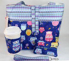 Retro Hoot Owl Handmade Tote Bag Handbag Purse Set Free Shipping | eBay