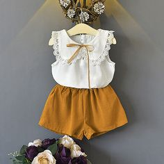 Summer Girls White Lace Blouse and Short Outfit Baby Boutique Clothing Set Chiffon Toddler Casual Wear Frocks For Girls, Little Girl Outfits, Toddler Girl Outfits, Little Girl Dresses, Kids Outfits, Girls Dresses, Baby Girl Fashion, Kids Fashion, Kids Dress Wear