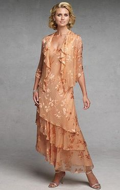 Capri by Mon Cheri Peach Silk Burnout Jacket Evening Dress CP11132-3 at frenchnovelty.com