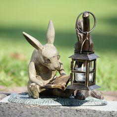 "11"" Aluminum Book Lover Reading Rabbit Garden Statue Candle Holder Lantern"