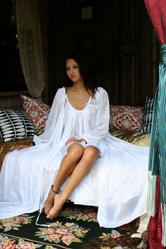 Romantic white bridal nightgown & robe with long, full sweep from SarafinaDreams on Etsy.
