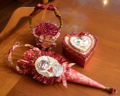 Set of 3 Vintage Inspired Valentine Containers by twojackmama, $15.00