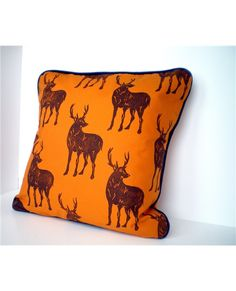 CUSHION  - Saffron Piped Homely Pillow - Fair Isle Nordic Stags Pattern - Duck Feather Filling. $51.00, via Etsy.
